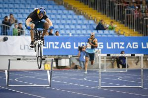 Thomas Oehler performs during his attempt to break the 400m hurdles world record in Linz, Austria, on August 26th, 2013.